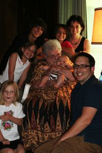Jay and me with our grandmother and our kiddos